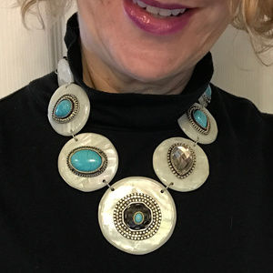 CHICO'S Opalescent Disc Turquoise Bib Necklace